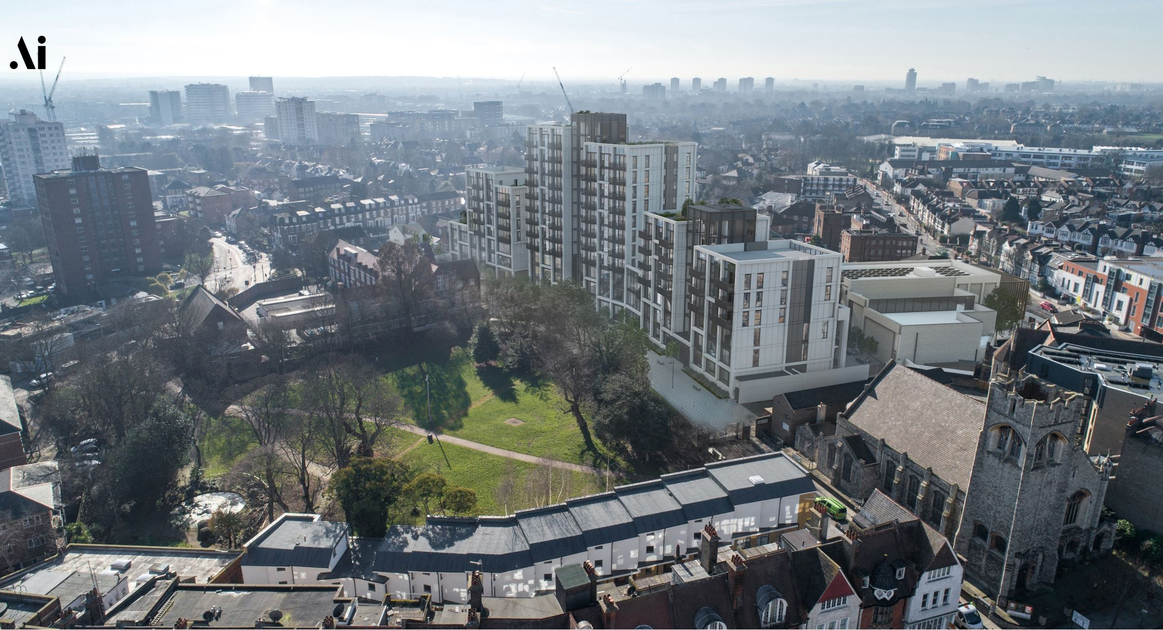 Ark Soane Academy CGI, aerial view of development